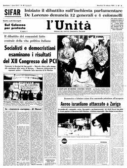 L'Unità, nº 48, 19/02/1969, p. 1