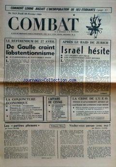 Combat, n° 7653, 20/02/1969, p. 1