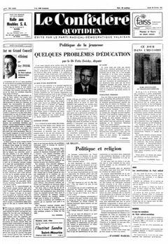 Le Confédéré quotidien, nº 42, 20/02/1969, p. 1