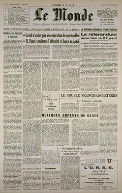 Le Monde, nº 7498, 20 février 1969, p. 1