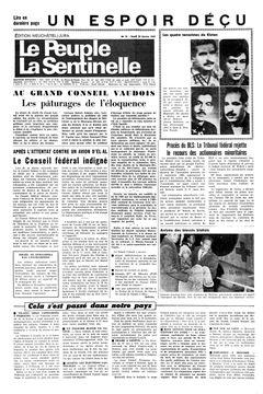 Le Peuple – La Sentinelle, nº 41, 20/02/1969, p. 1