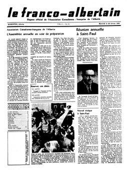 Le franco-albertain, Vol. 2, nº 15, 26/02/1969, p. 1