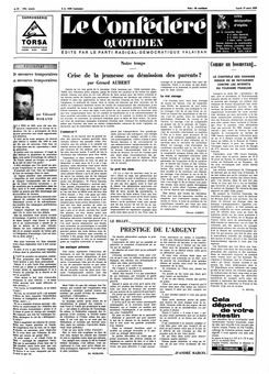 Le Confédéré quotidien, nº 63, 17/03/1969, p. 1