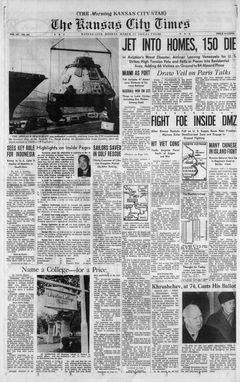 The Kansas City Times, Vol. 101, nº 163, 17/03/1969, p. 1