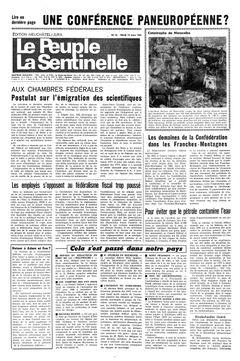 Le Peuple – La Sentinelle, nº 62, 18/03/1969, p. 1
