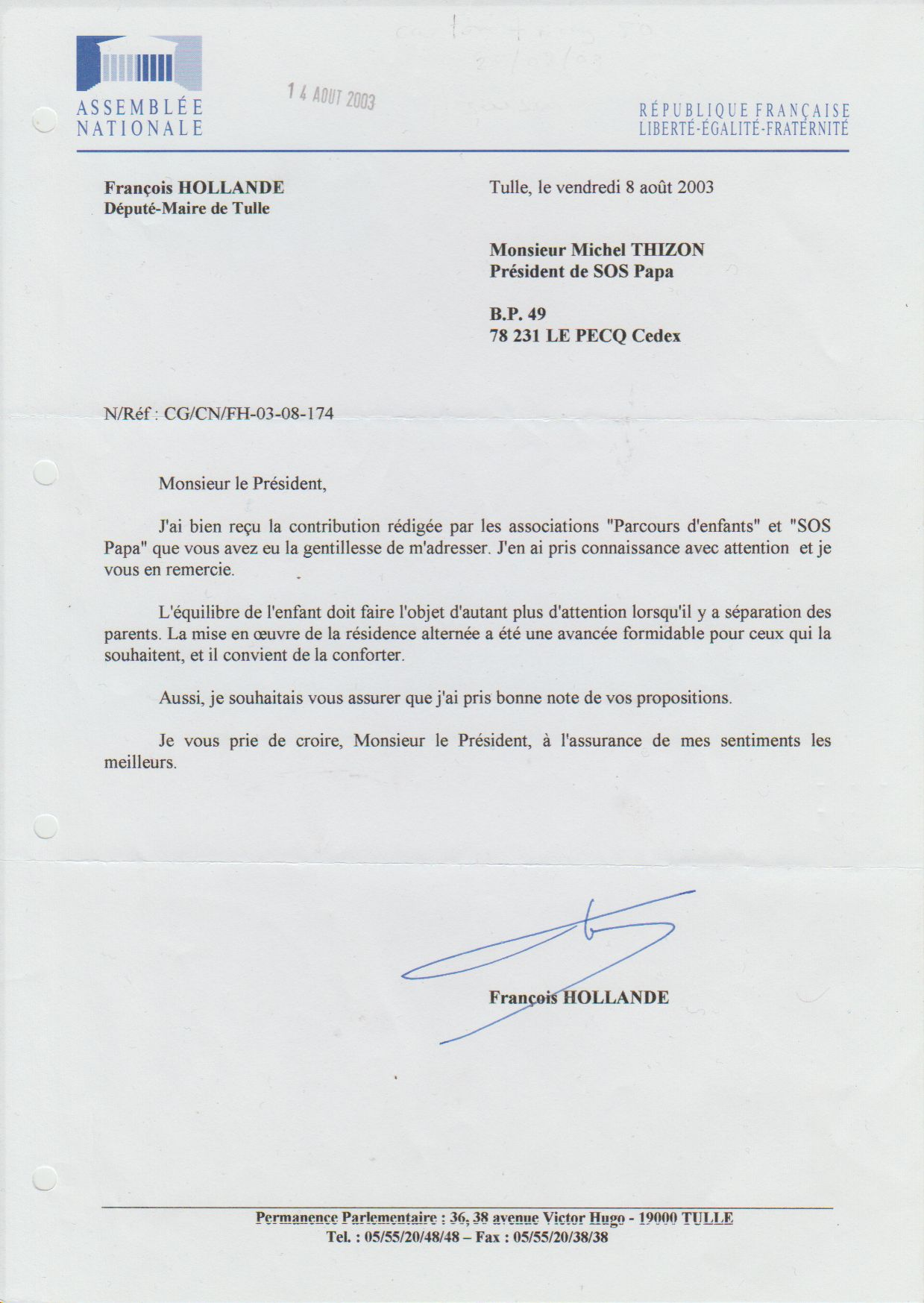 François Hollande, 08/08/2003