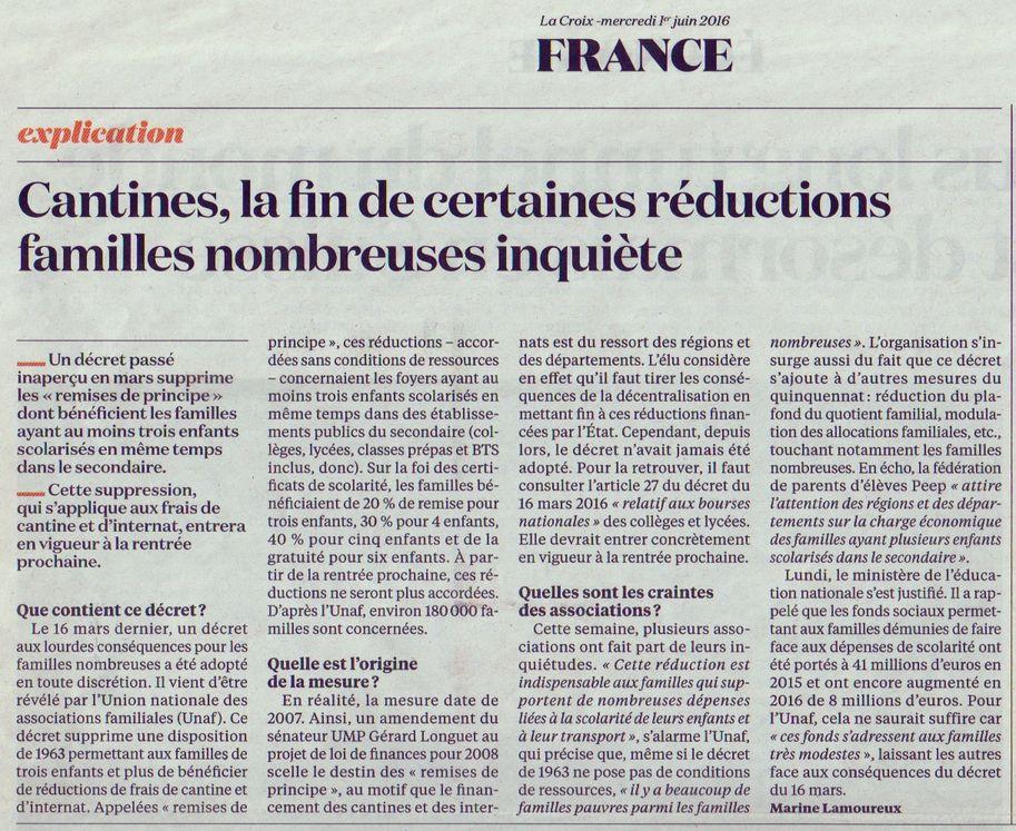 La Croix, 01/06/2016, p. 11