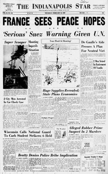 The Indianapolis Star, vol. 66, n° 253, 13/02/1969, p. 1