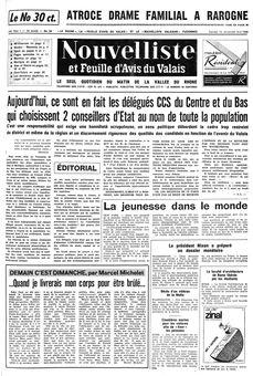 Nouvelliste et Feuille d'avis du Valais, nº 38, 15 février 1969, p. 1