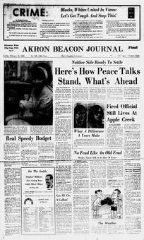 Akron Beacon Journal, nº 308, 16 février 1969, p. 1