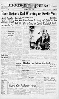 Albuquerque Journal, vol. 359, nº 47, 16 février 1969, p. 1