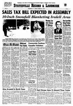 Statesville Record & Landmark, vol. 95, nº 41, 17 février 1969, p. 1