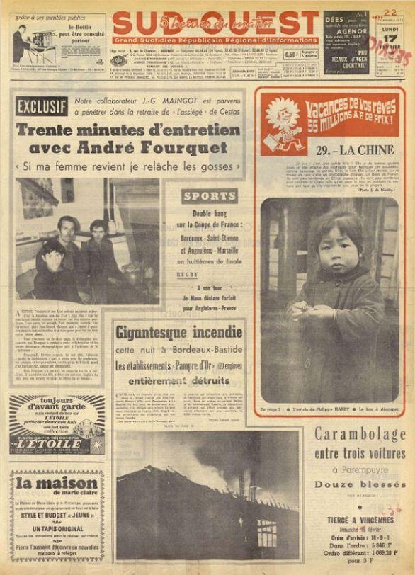 Sud-Ouest, nº 7613, 17 février 1969, p. 1