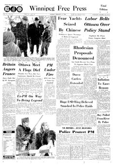 Winnipeg Free Press, vol. 76, nº 120, 17 février 1969, p. 1