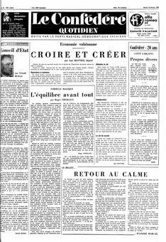 Le Confédéré quotidien, nº 40, 18/02/1969, p. 1