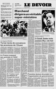 Le Devoir, vol. LX, nº 40, 18/02/1969, p. 1