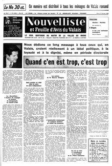 Nouvelliste et Feuille d'avis du Valais, nº 40, 18/02/1969, p. 1