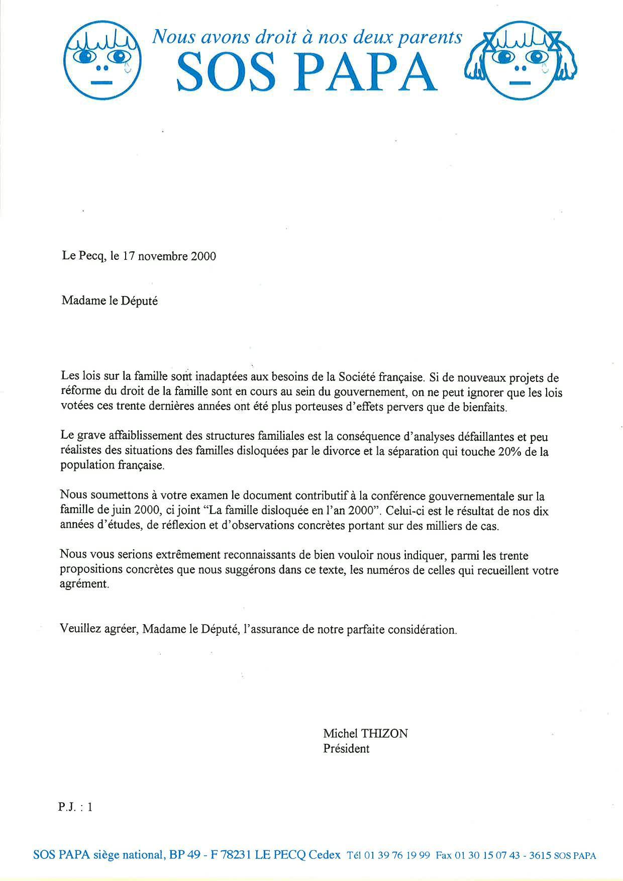 Courrier de Michel Thizon aux députées, 17/11/2000