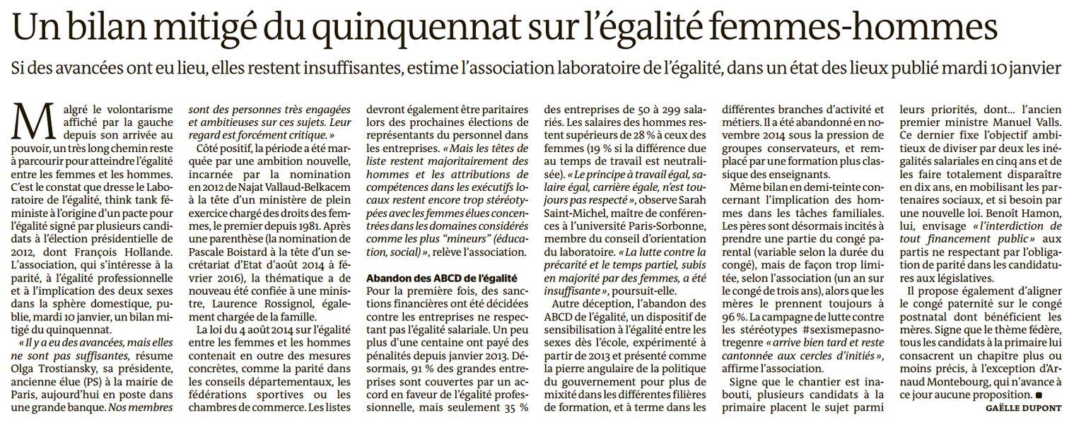 Un bilan mitigé du quinquennat sur l'égalité femmes-hommes (Le Monde, nº 22393, 11 janvier 2017, p. 10)