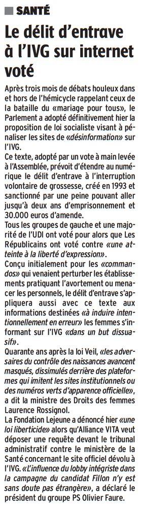 Le délit d'entrave à l'IVG sur internet voté (La République des Pyrénées, nº 21970, 17 février 2017, p. 46)