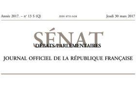 Journal officiel de la République française, édition « Débats parlementaires – Sénat », nº 5 S (Q), 30 mars 2017
