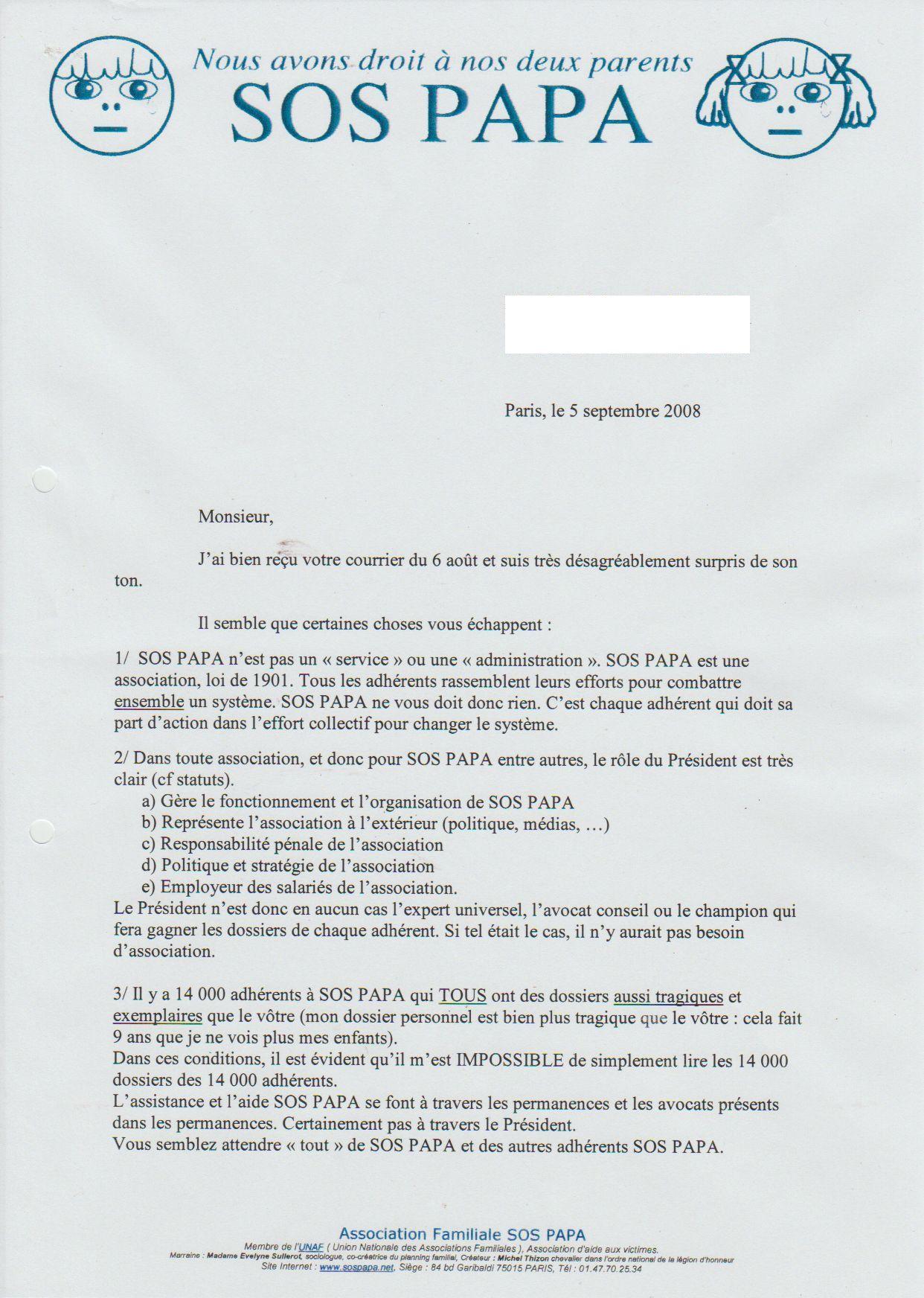 Courrier d'Alain Cazenave, 5 septembre 2008