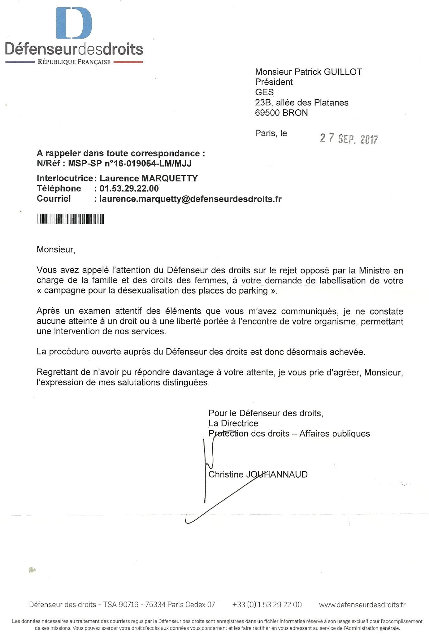 Courrier du Défenseur des droits, 27/09/2017