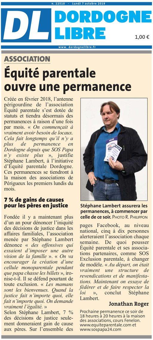 Dordogne libre, nº 22510, 07/10/2019