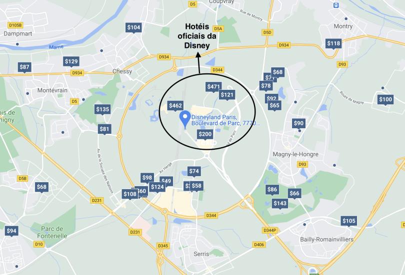 Mapa mostrando os hotéis nos arredores da Disneyland Paris e destacando os hotéis oficiais da Disney.