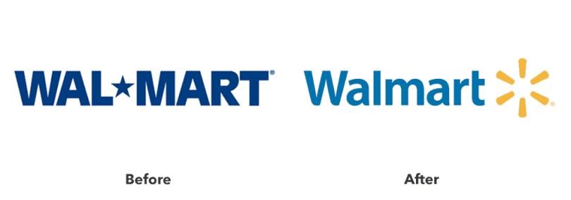 Imagem comparando os logos de Wal-Mart USA e Walmart USA