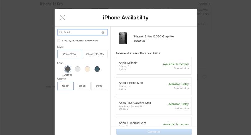 Print de tela com simulação de compra de iphone para retirada nas lojas da marca em Orlando.