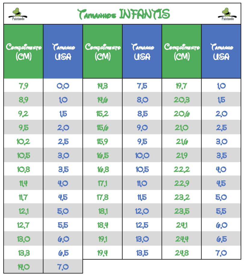 Imagem com tabela completa de todos os tamanhos infantis em cm e a numeração equivalente para o padrão americano