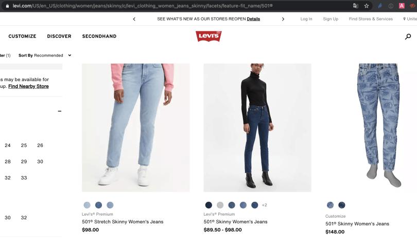 Print da loja online da Levis americana com preços de calças para comprar e receber em Orlando.