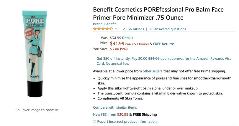 Foto de primer na Amazon.com com preço de US$ 32, um dos produtos cosméticos que valem a pena comprar em Orlando.