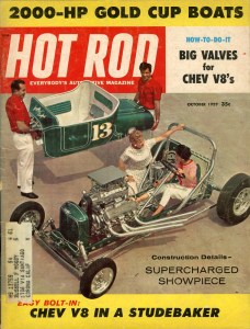 "John Geraghty-built ""Grasshopper"" '23 T show-and-race car on October '59 Hot Rod magazine cover"