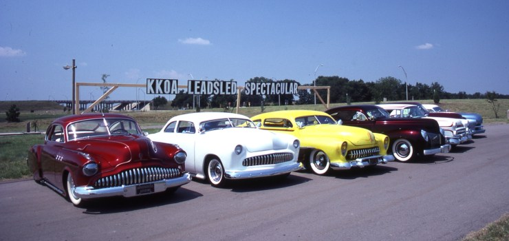 Cars lined up for the first KKOA Lead Sled Spectacular, 1981 in Wichita, Kansas
