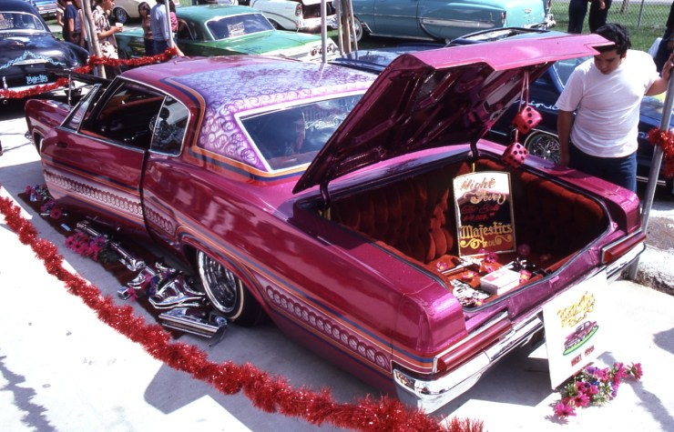 Lowrider with velour trunk upholstery