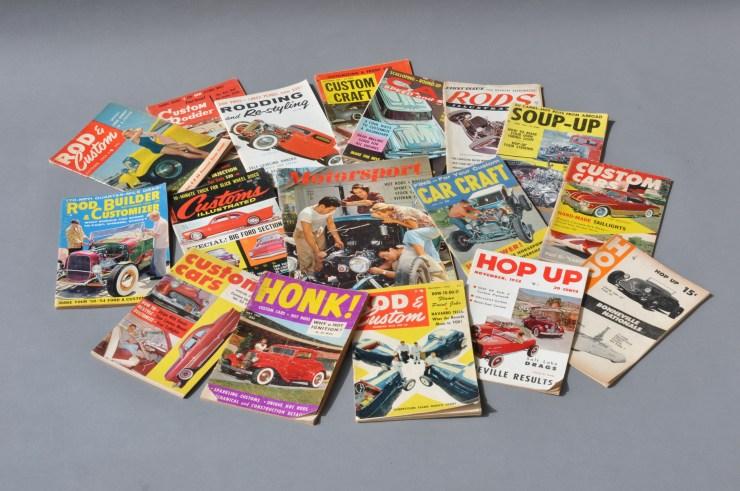 Various hot rod, custom car, street rod magazine covers
