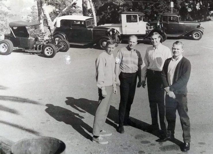 Bud Lakeman's T, Chris Knudson's '31 Vicky, Doc's A pickup, and Jack Robert's 5-window Deuce at Village of the Giants movie set