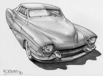 Charlie Smith artwork of '41 Ford convertible custom