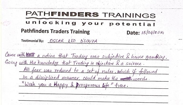 Testimonial By Mr. Oscar Led Dsouza – Student Pathfinders Traders Training April14 Andheri Batch
