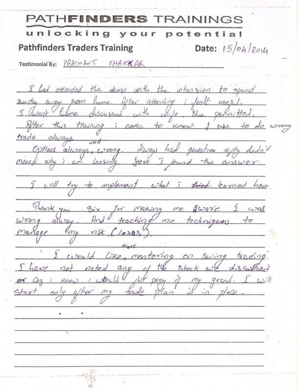 Testimonial By Mr. Prashant Thakkar – Student Pathfinders Traders Training April14 Andheri Batch
