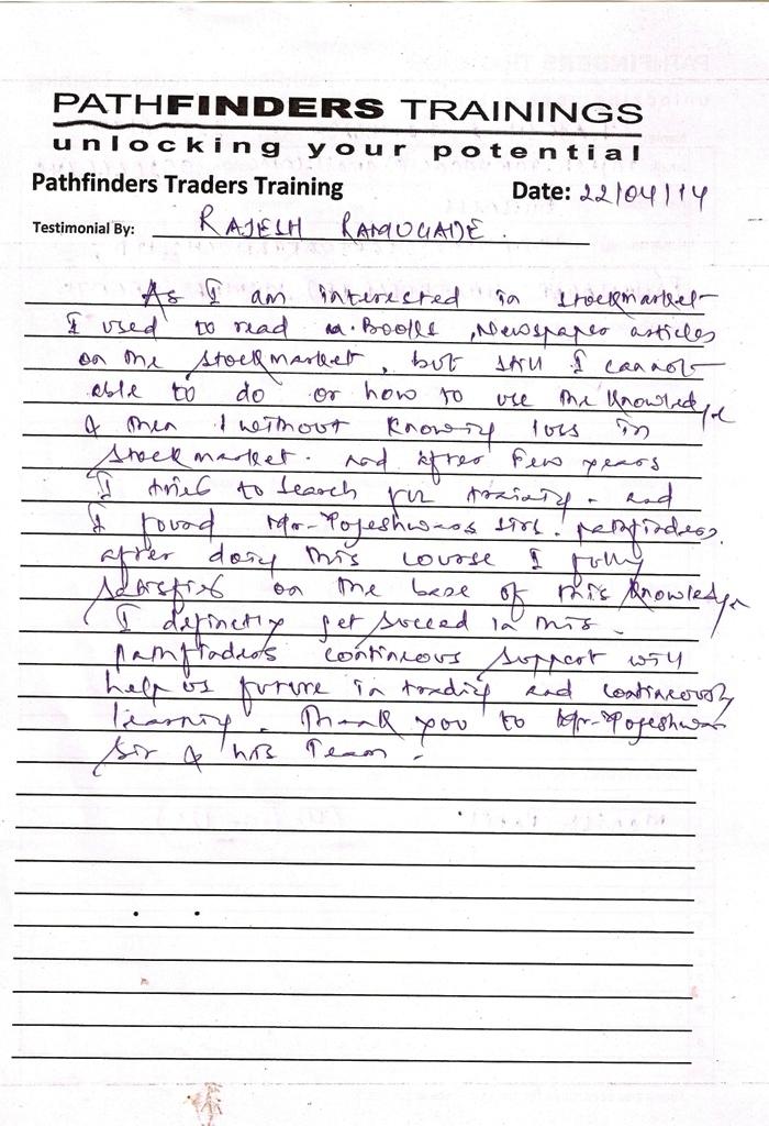 Testimonial By Mr. Rajesh Ramugade – Student Pathfinders Traders Training April14 Thane Batch