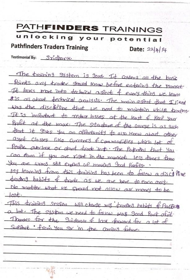 Testimonial By Mr. Sridhar Krishnamoorthy – Student Pathfinders Traders Training April14 Thane Batch