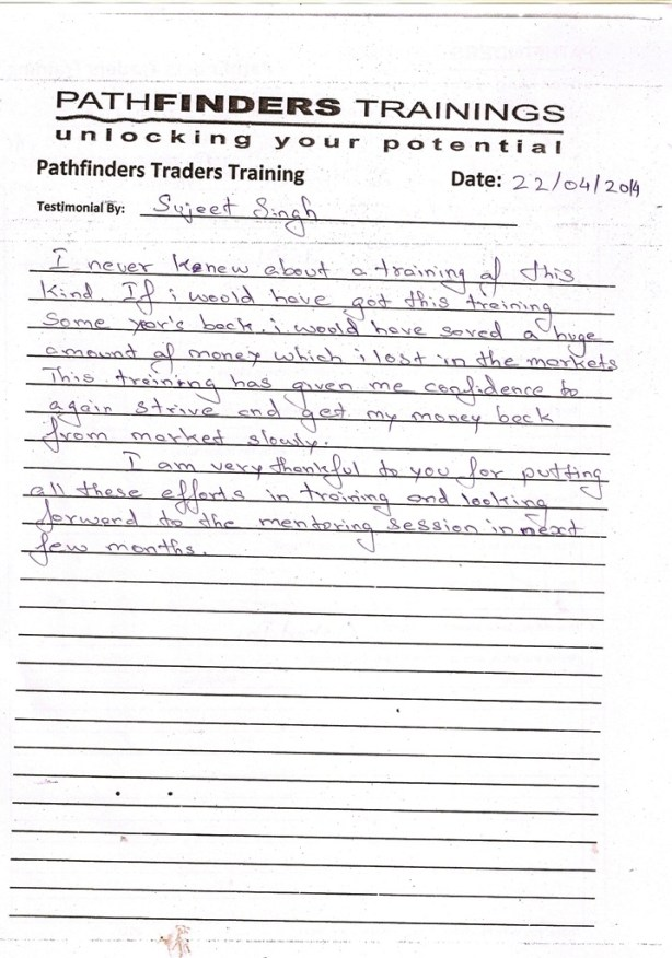 Testimonial By Mr. Sujeet Singh – Student Pathfinders Traders Training April14 Thane Batch