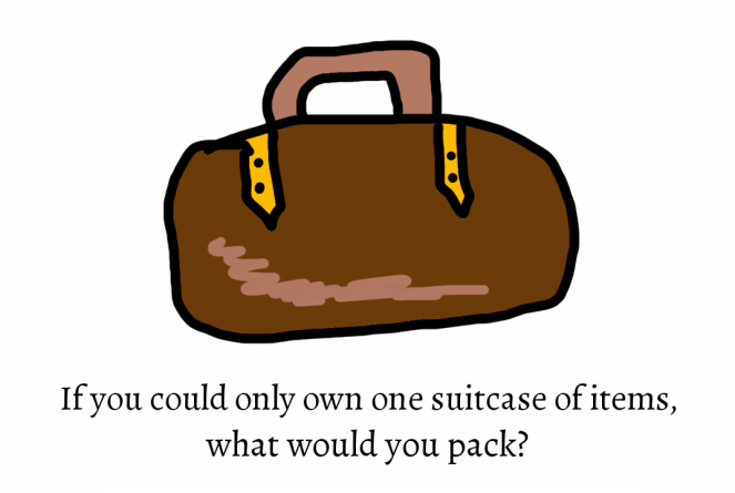 Image of suitcase with words if you could only own one suitcase of items what would you pick