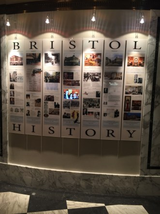 Wall of History. Hotel BRISTOL Vienna Note the monitor in the middle of the central plate.