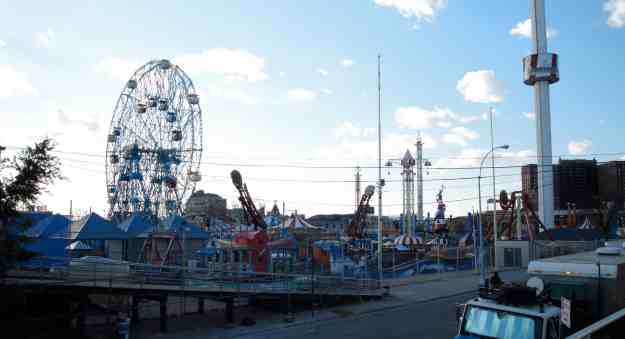 A view of the fenced-off amusement park.