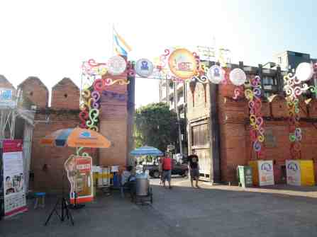 One of the four city gates decorated for a festival.