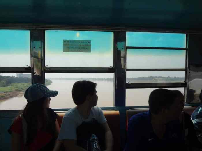 On the bus over the border.